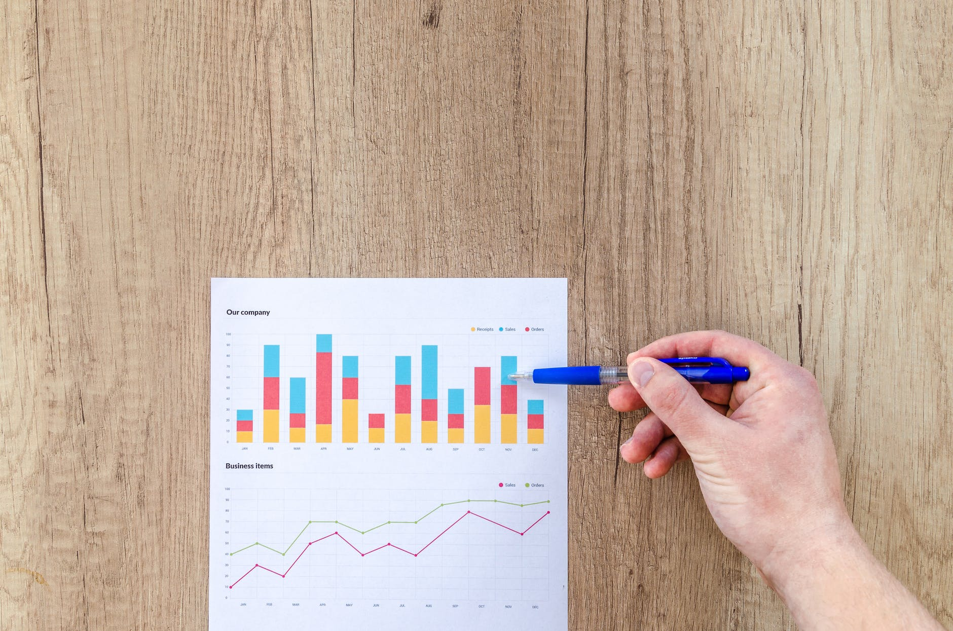 chart graph hand paper