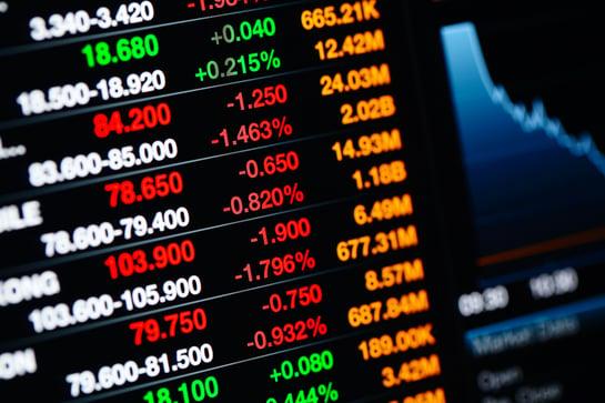 Stock market data on LED display