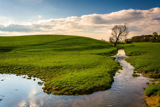 Stream in a farm field in rural York County, Pennsylvania.