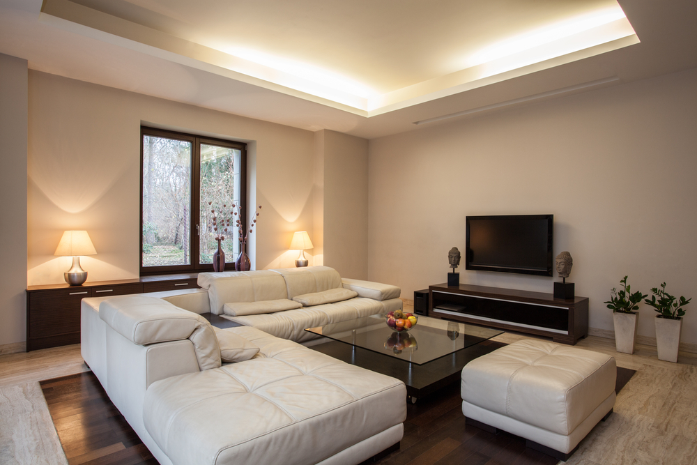 Travertine house View on bright,unusual living room